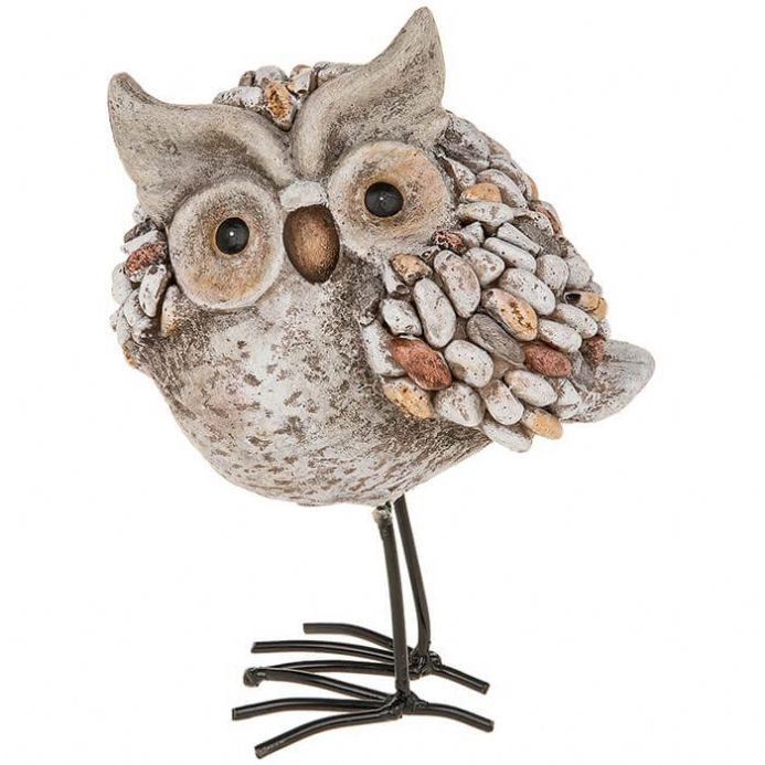Pebble Art Owl Standing
